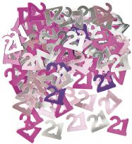 Pink Glitz Table Confetti - Age 21